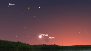Conjunction of Venus , Mars and Crescent Moon|July 12, 2021