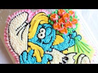 [] Buttercream Smurfette Cake - How to make a Smurf's cake - Star Tip Cake Decorating