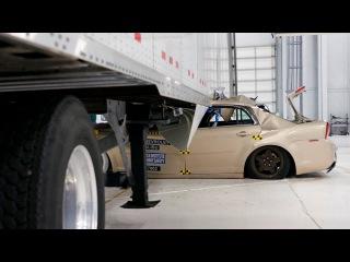 Аварии на скорости 35mpH (или 56,31км/ч): автомобиль и грузовик - трейлер, тестирования противоподкатных боковые брусья или защитные брусья в боковой части у фур. Краш-тесты (Crash-tests) автомобилей.
