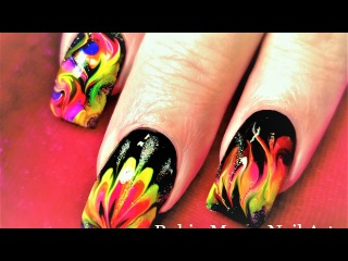 No Water Needed   Fire Drag Marble Nail Art Design Tutorial