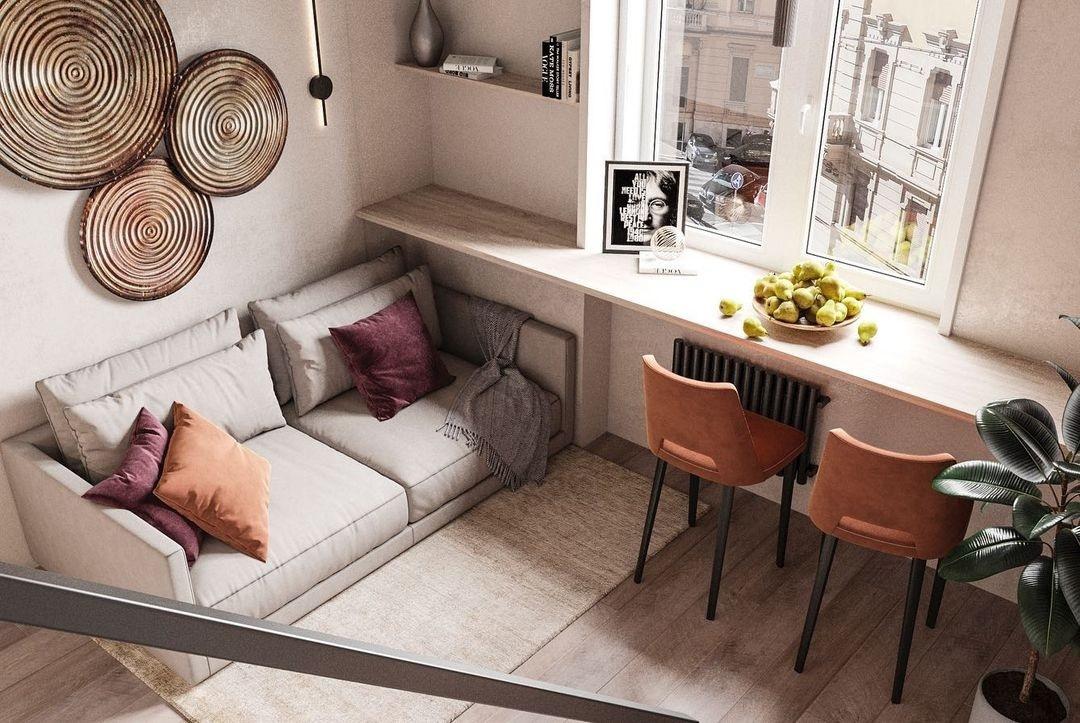 Проект двухуровневых апартаментов 25 кв.