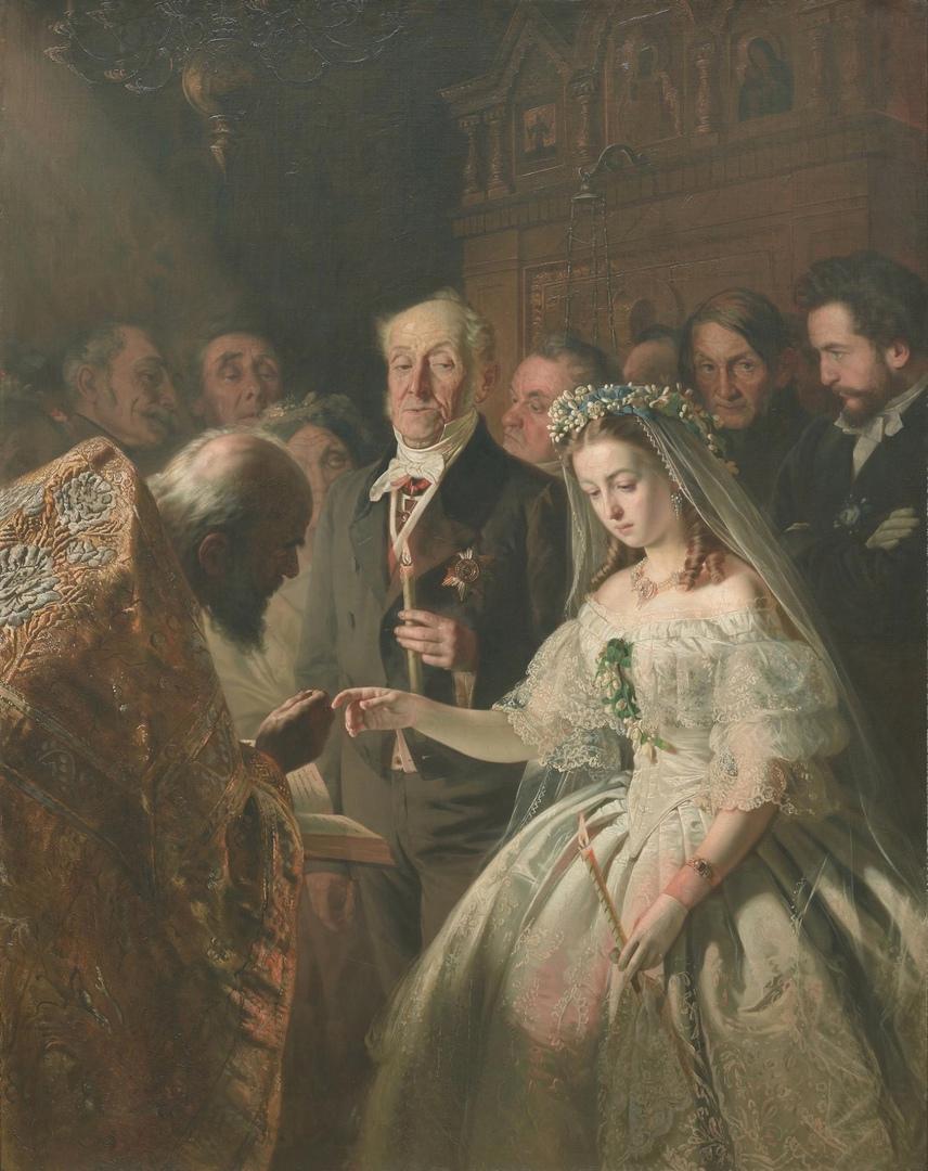 Картина «Неравный брак» русского художника Василия Пукирева 1862 года. Государственная Третьяковская галерея