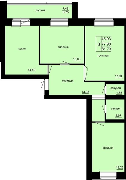 Продается 3-комнатная квартира (82кв.м.) на 5-м эт...