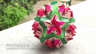 Lamhab Kusudama - PrwOrigami Folding Tutorial 【くす玉・折り紙】