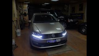 На Volkswagen Polo свет ярче чем на новом Тигуане. Установка бидиодных линз и ДХО с динамическим
