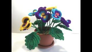 Как вязать Анютины глазки  крючком на 8 марта. Часть 1/ How to crochet Pansies on March 8th. Part 1